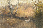 Robert Abbett - Steadying the Pup - oil on canvas - 20 x 30