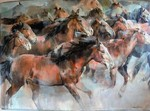 Marilyn Borglum - The Herd - acrylic - 68 x 96