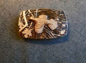Ansell Bray - Carved and Patinated Bronze Grouse Buckle - bronze - 1.75 x 2.75