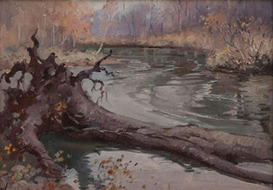 George Browne - Miami River, Ohio - oil on board - 10 x 14