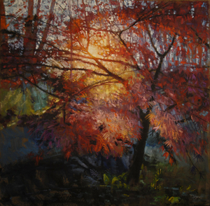 Todd Doney - Japanese Maple, November 7th, 4:12pm - oil on linen - 48 x 48