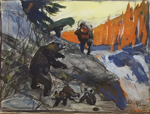 Philip R. Goodwin - Preparedness, Portage Obstacle - gouache - 5.88 x 7.94