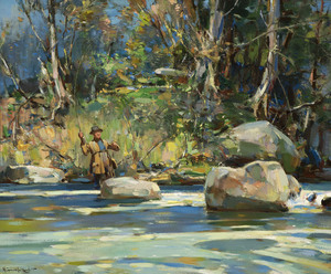 Walter Granville-Smith - Trout Fishing: The Pool - oil on canvas - 25 x 30 1/8
