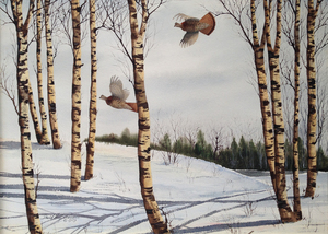 David Hagerbaumer - Winter Grouse - watercolor on paper - 21 x 30