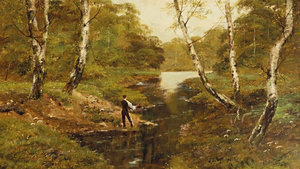 Theodore Hines - Fly Fishing - oil on canvas - 19 x 32