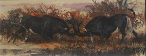 Bob Kuhn - Fighting Sables - acrylic - 12 x 30