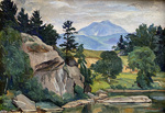 Luigi Lucioni - Vermont in Summer - oil on canvas - 6.5 x 8.5