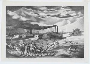John McCrady - The Robert E. Lee and The Natchez - etching/drypoint - 11.25 x 16
