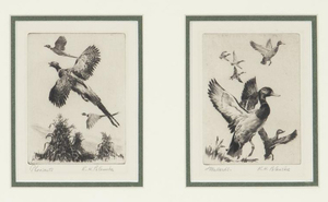 Reinhold H. Palenske (1884-1954) - Pheasants and Mallards -two etchings - etching/drypoint - 3.75 x 3