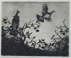 Grouse and Wild Apple Tree - Aiden L. Ripley