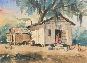 Louise Sarrazin - Southern Cabin (Home Sweet Home) - watercolor - 4.75 x 6.75