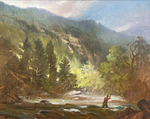 Joseph Sulkowski - Fly Fisherman in Landscape - oil on board - 15.5 x 19.5