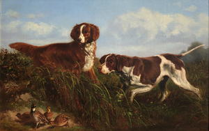 Arthur Fitzwilliam Tait - Pointer, Setter, and Quail - oil on canvas - 14 x 22