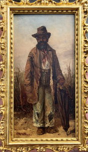 William A. Walker - Man with Umbrella - oil - 8 x 4