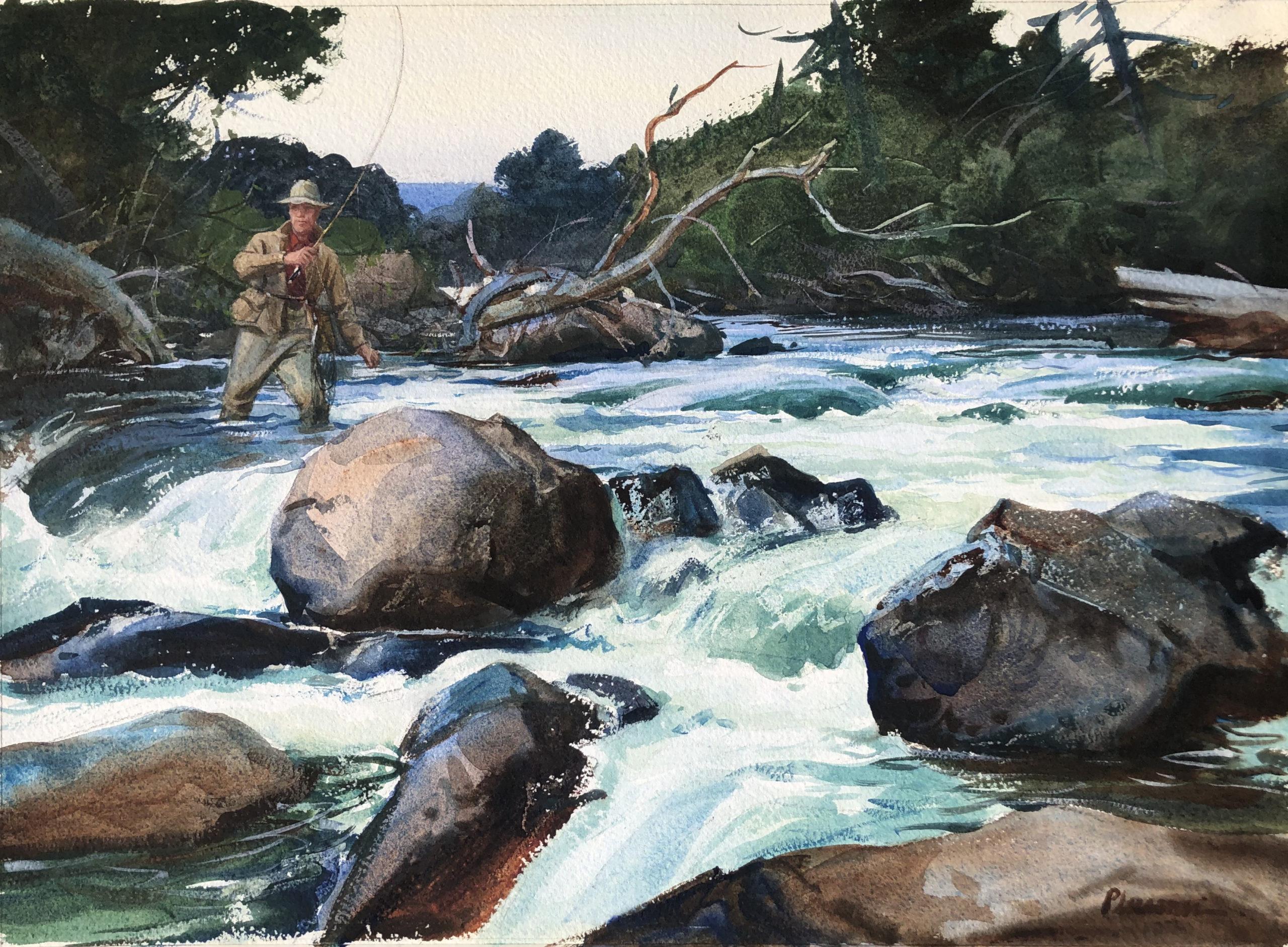 Ogden Pleissner - Above the Rapids